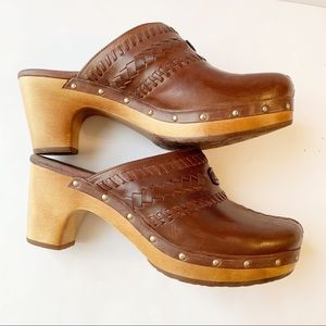 Ugg Leather Block Heel Clogs in Camel Color